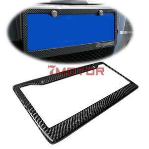 100 Real Carbon Fiber License Plate Frame Plate Tag Twill Rear Trunk Hatch Back