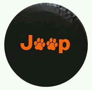 Jeep Spare Tire Cover Paw Print 30 inch Orange