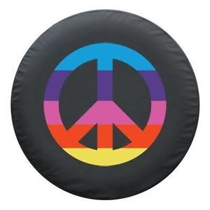 Sparecover® Brawny Series Peace Rainbow 32 Black Heavy Denim Vinyl Tire Cover