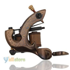 Pro 10 Wrap Coils Damascus Steel Tattoo Machine Outlining Shader Gun Y 96