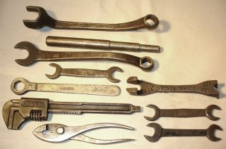 10 Vtg Ford Script Tool Kit Wrenches Pliers Ratchet Tool Model A T Hot Rat Rod