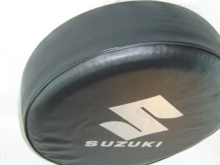 Sparecover® ABC Series Suzuki Silver Metallic Logo Tire Cover HD Tuxedo Black