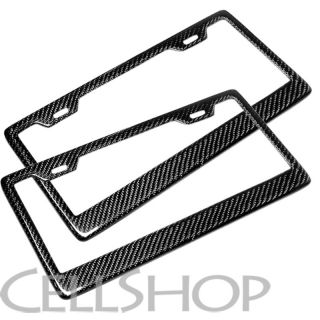 USA Vehicle Car Carbon Fiber Front Rear License Plate Frames Holder Covers Pair
