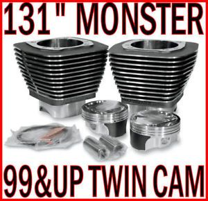 "Revolution Performance Black 131"" Engine Monster Big Bore Kit Harley Twin Cam"