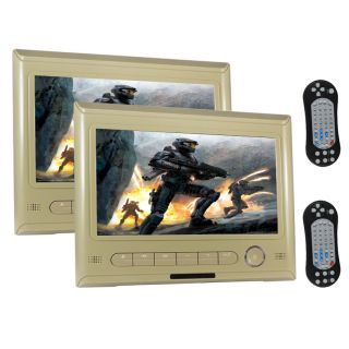 2X HD 9''TFT LCD in Car Headrest Monitor Video  4 CD DVD Player Screen Beige