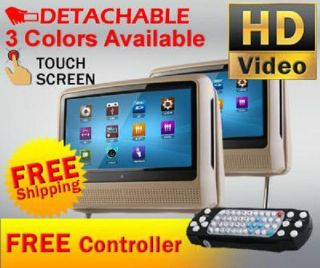 "New Tan Dual 9"" Digital Touchscreen Headrests LCD Car Monitors 2 DVD Player USB"
