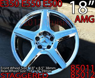 "4 New Chrome 18"" Mercedes E350 E550 E500 AMG Wheels N Tires Rims 85011 85012"