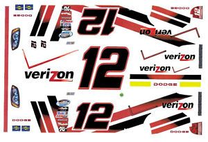 12 Verizon Dodge Penske Racing 1 64th HO Scale Slot Car Decals