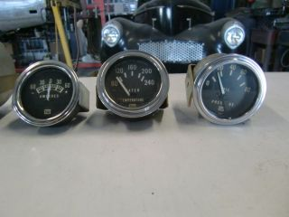 Vintage Stewart Warner 3 Gauges Oil Water Amp Willys Ford Chevy Rat Rod Gasser