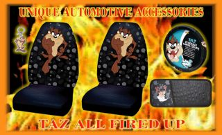 5 Taz Tasmanian Devil Seat Covers Steering Wheel Key CD