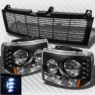 99 02 Silverado 00 06 Tahoe Suburban 2in1 LED Headlights Bumper Light Grille Set