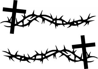 Cross Thorns Vinyl Car Decals Religious Stickers