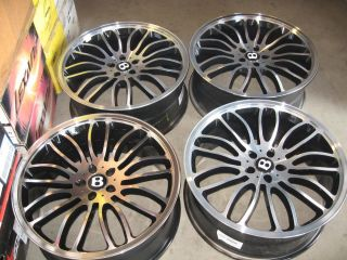"22"" Bentley Wheels by CEC 22x9 5x112 25 Offset Black Machined Set"