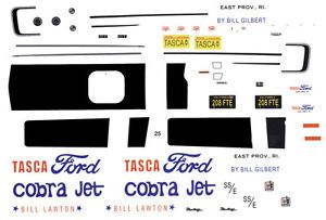 Bill Lawton Tasca Ford Cobra Jet 1968 2010 Drag 1 32nd Scale Slot Car Decals