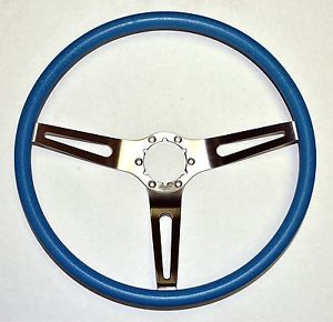 "1969 1970 C3 Corvette 15"" 3 Spoke Comfort Steering Wheel Bright Blue"
