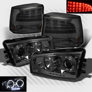 Smoked 06 08 Charger Halo LED Projector Headlights LED Tail Head Lights Set Lamp