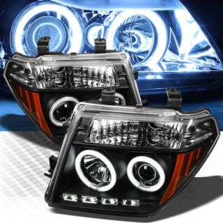 2005 2008 Nissan Frontier CCFL Halo LED Black Projector Headlights Pair Lamp Set