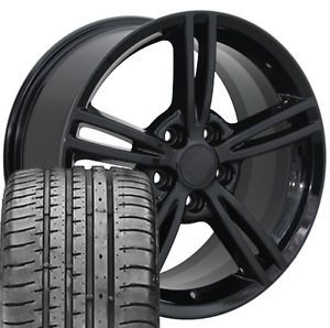 18x8 5 19x10 Black Z06 Corvette Wheels and Tires Fits Chevrolet