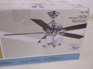 Hampton Bay Bristol Lane 52 in Polished Nickel Ceiling Fan Light 251297 14950