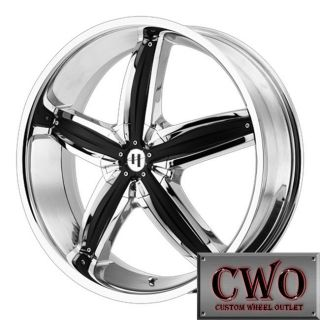 "22x8 5 22"" Chrome Helo HE844 Wheels Rims 5x115 5x120 45mm Offest"
