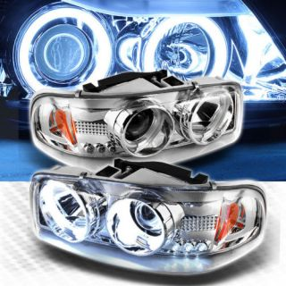 CCFL Halo 00 06 GMC Yukon 99 06 Sierra LED Projector Headlights Head Lights Lamp