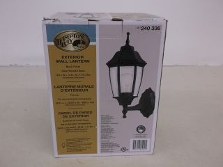 Hampton Bay Black Outdoor Dusk to Dawn Wall Lantern Light 240336 BPP1611 Blk