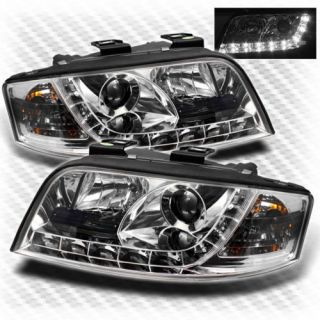 02 04 Audi A6 R8 DRL LED Projector Headlights Daytime Running Lights Lamp Set