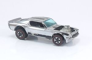 Hot Wheels Redline Mustang Boss Hoss Chrome Club Car Black Int Cap Wheels