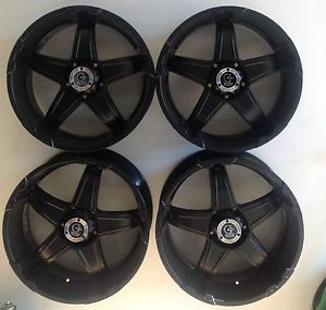 "Set 4 22"" Granite Alloy Black Wheel 5x150 22x9 5 Land Cruiser Sequoia Tundra"