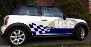 E Rocker Panels Checkered Flag Stripes Decals Fit Any Mini Cooper Clubman Coupe