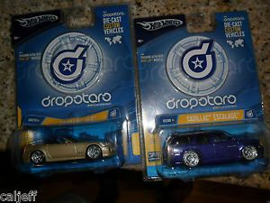 2 Car Lot Hot Wheels Dropotaro Cadillac Escalade Blue XLR