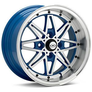 "15"" OG Axis Old Skool Style Blue Wheels Rims Fit Honda Civic DX EX SI1989 2005"