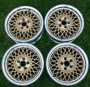 4 Vintage Gold Mesh 15 x 6 Wheels 5 Lug 5x100 Enkei Japan Alloy Wheel Set