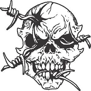 Skull Skeleton Barb Wire Car Truck Window Vinyl Decal Sticker