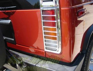 03 Hummer H2 Chrome Tail Light Covers Guards Surrounds