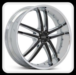 "22"" x 9"" Status S820 Fang Chrome Explorer Range Rover Pilot LHS G8 Wheels Rims"