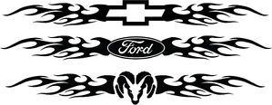 "Windshield Decal Flames Ford Chevy Dodge Decal Sticker Car Truck Tattoo 22"" Long"