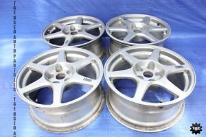 "03 05 Mitsubishi Lancer Evolution 8 Factory Enkei Wheels Set 17"" PCD 5x114 3"
