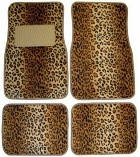 15pc Set Seat Cover Beige Tan Brown Leopard Print Floor Mat Wheel Belt Head Pad