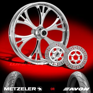 "Majestic Chrome 21"" Front Wheel Tire Dual Rotors for 2000 13 Harley Touring"