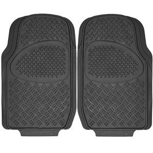 2pc Set All Weather Heavy Duty Rubber Trucks Floor Mat Black Front Auto Car Mat