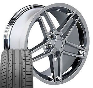 "17"" 18"" 9 5 10 5 Chrome Corvette C6 Z06 Wheels Conti Tires Rims Fit Camaro"