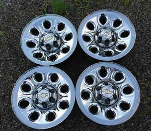 "Chevy Silverado Chrome 17"" Steel Wheels Rims 2000 2013 with Center Caps"