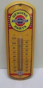 Chevy Chevrolet Parts Thermometer Metal Sign Celsius Fahrenheit Garage New `