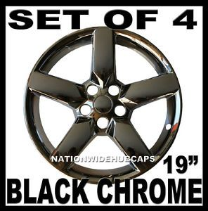 "19"" Chevy Camaro Black Chrome 5 Spoke Wheel Skins Hub Caps Rim Clad Covers 19x8"