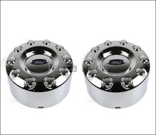 "New Pair Chrome Rear Center Caps 2005 2012 Ford F450 F550 w 19 5"" Wheels"