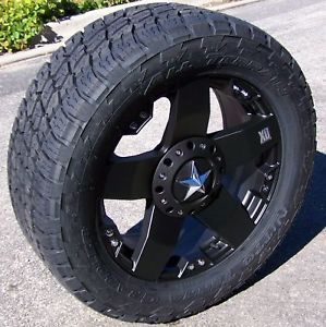 "20"" Rockstar Wheels Nitto Terra Grappler Tires 8 Lug Dodge RAM 2500 GMC Sierra"