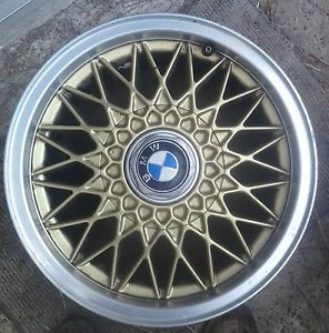 One BMW BBs RZ Gold Silver 15 inch Wheel with Center Cap