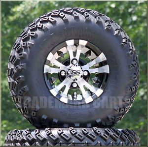 New 10x7 Vampire Machined Black Golf Cart Wheels and All Terrain Tires