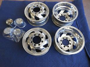 Custom Set Vintage Alcoa Style Polished Aluminum Dually Wheels Chevy Ford Dodge